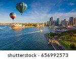 hot air balloon over sydney bay ... | Shutterstock . vector #656992573