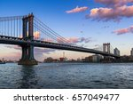 manhattan bridge  long span... | Shutterstock . vector #657049477