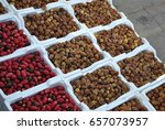 a fresh date palm and dry date...   Shutterstock . vector #657073957