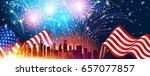 colorful fireworks for... | Shutterstock .eps vector #657077857