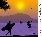 surfers silhouette on tropical... | Shutterstock .eps vector #657096577