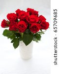 Bouquet Of Red Roses In Vase O...