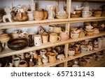 wooden racks in a pottery... | Shutterstock . vector #657131143