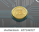 bitcoin concept  golden coin on ... | Shutterstock . vector #657146527
