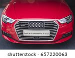 """Small photo of Barcelona, Spain - October 2, 2016: Detail of electric car Audi A3 Sportback e-tron, exposed at the exhibition """"Expoelectric"""", all related to electric vehicles."""