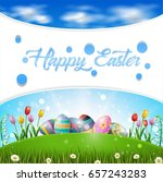 collection of easter eggs.... | Shutterstock . vector #657243283