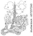 motor scooter doodle in nice... | Shutterstock .eps vector #657257263