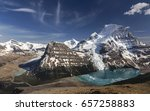 Distant Panoramic Landscape of Berg Lake and Snowy Mountain Robson Top in Jasper National Park Canadian Rocky Mountains