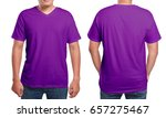 purple t shirt mock up  front... | Shutterstock . vector #657275467