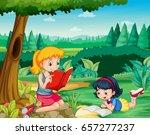 two girls reading books in park ... | Shutterstock .eps vector #657277237