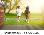 children walking holds the hand ... | Shutterstock . vector #657292603