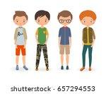 fashion stylish boys. cartoon... | Shutterstock .eps vector #657294553