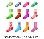 flat design colorful socks set... | Shutterstock .eps vector #657321493