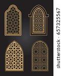 arabic gold windows set   Shutterstock .eps vector #657325567