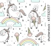 Stock vector vector pattern with cute unicorns clouds rainbow and stars magic background with little unicorns 657332557