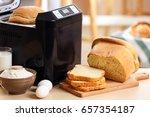 tasty sliced loaf and bread...   Shutterstock . vector #657354187