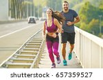 early morning workout. happy... | Shutterstock . vector #657359527