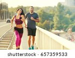 early morning workout. happy... | Shutterstock . vector #657359533