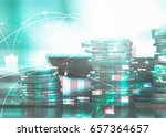 double exposure of coins with... | Shutterstock . vector #657364657