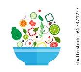 salad bowl. healthy food ... | Shutterstock .eps vector #657374227