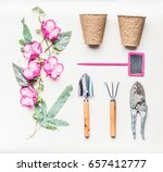 pink female gardening equipment ... | Shutterstock . vector #657412777