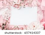 white blank card with pastel... | Shutterstock . vector #657414337