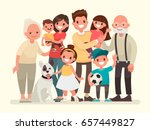 Stock vector happy family father mother grandfather grandmother children and pet vector illustration in a 657449827