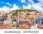 lisbon  portugal skyline at sao ... | Shutterstock . vector #657461443