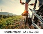 boy feet in red sneackers on... | Shutterstock . vector #657462253