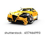 Yellow Car Crash On A White...