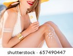 beautiful woman in yellow hat... | Shutterstock . vector #657490447