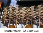 Small photo of Grilled stick entrail of chicken Chinese street food.