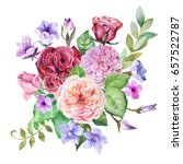 watercolor bouquet of roses and ... | Shutterstock . vector #657522787