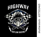 skull of biker in t shirt style ... | Shutterstock .eps vector #657531463