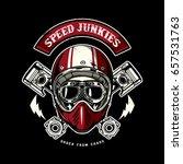 skull of biker in t shirt style ... | Shutterstock .eps vector #657531763
