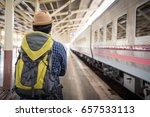 traveler man standing and waits ... | Shutterstock . vector #657533113