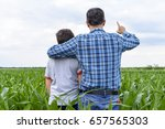 son and father in a cornfield