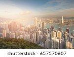 sunset tone over hong kong city ...   Shutterstock . vector #657570607