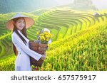 beautiful woman with vietnam... | Shutterstock . vector #657575917