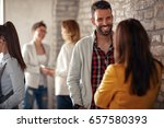 casual discussion between... | Shutterstock . vector #657580393