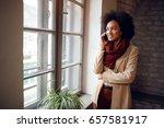 african girl looking through...   Shutterstock . vector #657581917