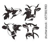 cow head cattle silhouette milk ... | Shutterstock .eps vector #657581983