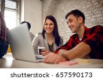 young architect couple working... | Shutterstock . vector #657590173
