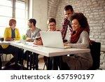 smiling designers coworkers... | Shutterstock . vector #657590197
