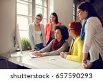group of designers working on... | Shutterstock . vector #657590293