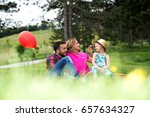 happy family in nature park... | Shutterstock . vector #657634327