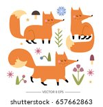 cute hand drawn vector foxes...   Shutterstock .eps vector #657662863