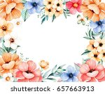 beautiful watercolor frame... | Shutterstock . vector #657663913