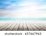 empty wooden table with party... | Shutterstock . vector #657667963