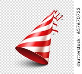 party shiny hat with ribbon.... | Shutterstock .eps vector #657670723